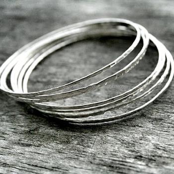 9440c7ca317 Thin Silver Bangles Hammered Thin Sterling Silver Stacking Hammered  Bracelets Silver Bangle Set Simple