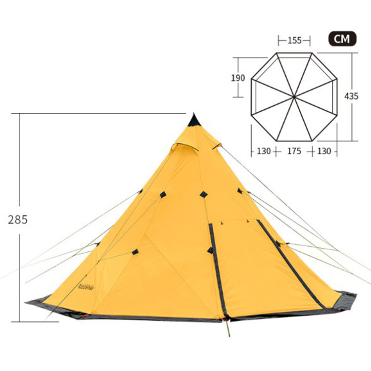 Pyramid 5-8 People Waterproof Rainstorm Large Family Tent for Camping