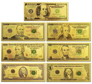 Real Gold Foil Banknote Set USD 100/50/20/10/5 Notes Collection .999 Pure USD Bill 24K Gold Plated For Home Decor