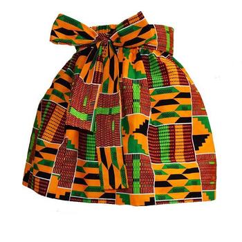 African Kente Print Full Skirt For Little Girls Kids Skits With Belt Short  Skirts African Wax Print Cotton Girl Wear Skirts Dres - Buy Kids Children
