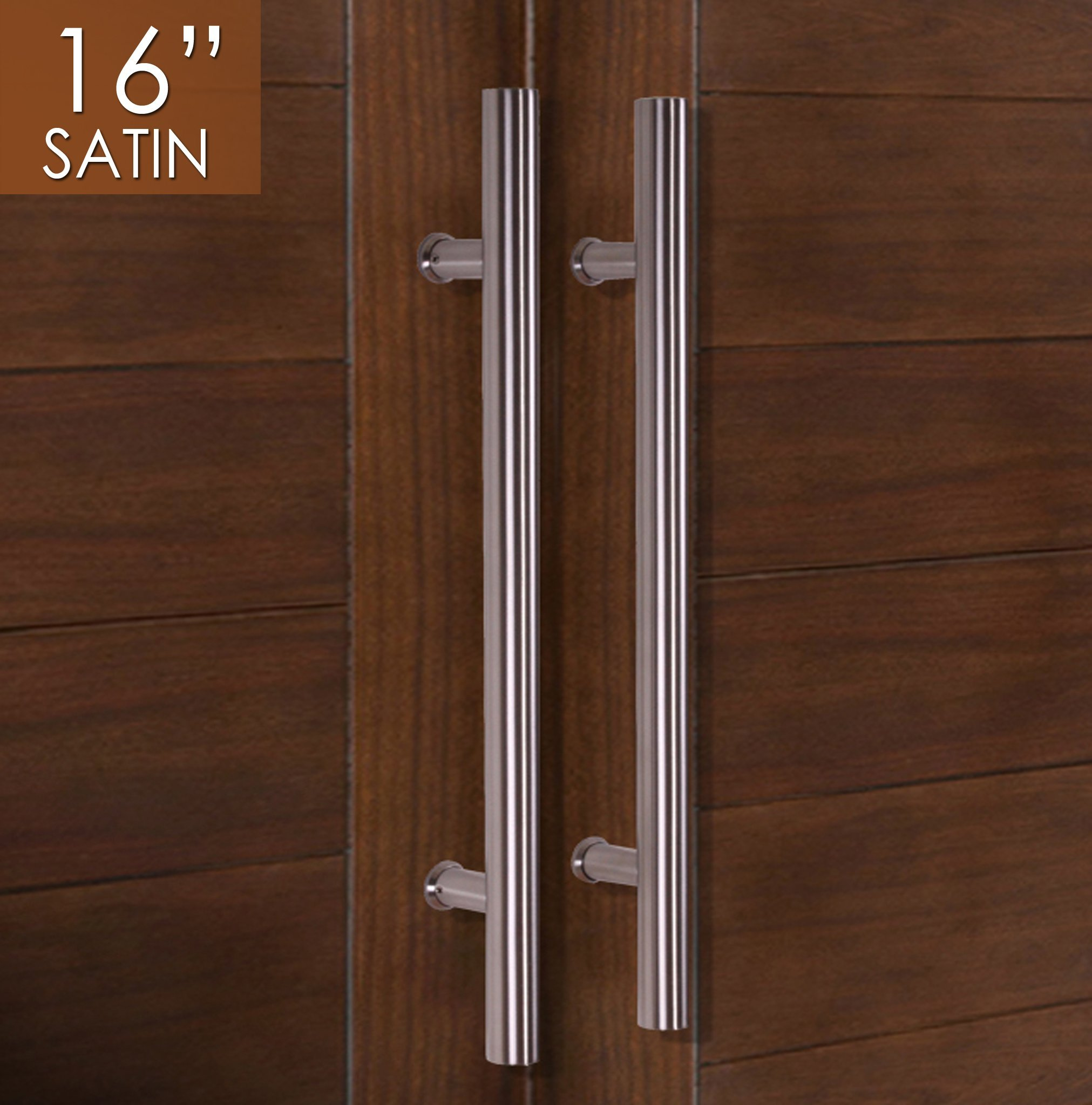 Pull Push 16 inches Handles for Entrance Entry Front Door, Interior and Exterior, Satin Finish, Storefront Door, Commercial Entry Gate and Office Door, Ladder Style.