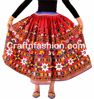 4573ee59af Tribal Rajasthan Bohemian skirt(Gaghra)- Hand Embroidered Mirror Beaded  Work Belly Dancing Skirt