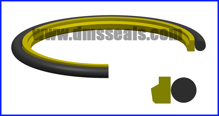 Single Acting Rubber Energized Plastic Faced  Seal step seal for hydraulic sealing