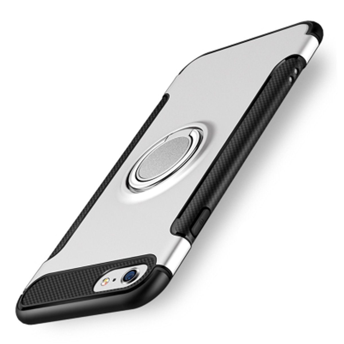 Case for iPhone 7, Luxury Ultra thin Armor Case Cover 360 Rotating Metal Ring Holder Soft TPU Silicone Phone Case[Silver White]