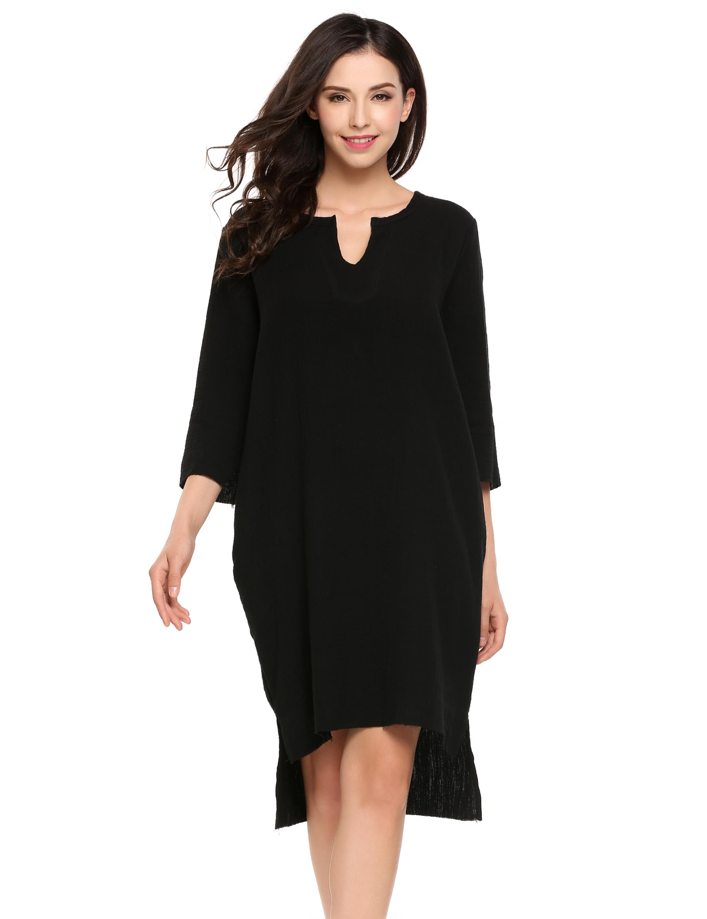 Casual 3/4 Sleeve Solid Notch Neck Shift Dress