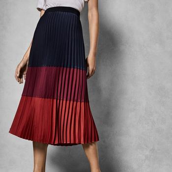 715191f2d De moda de Corea estilo japonés multicolor una línea Falda midi falda para  niñas
