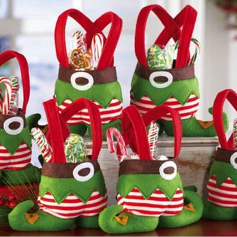UpMall Santa Candy Bags Elf Foot Socks Candy Bags Christmas Gift Bags Elf Spirit Stocking Filler Pants Cutlery Supplies Practical Home for Christmas Decoration -Pack of 12 (Foot Elf)