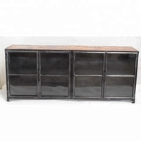 Reclaimed Wood Top Glass Frame Industrial Room Cabinet