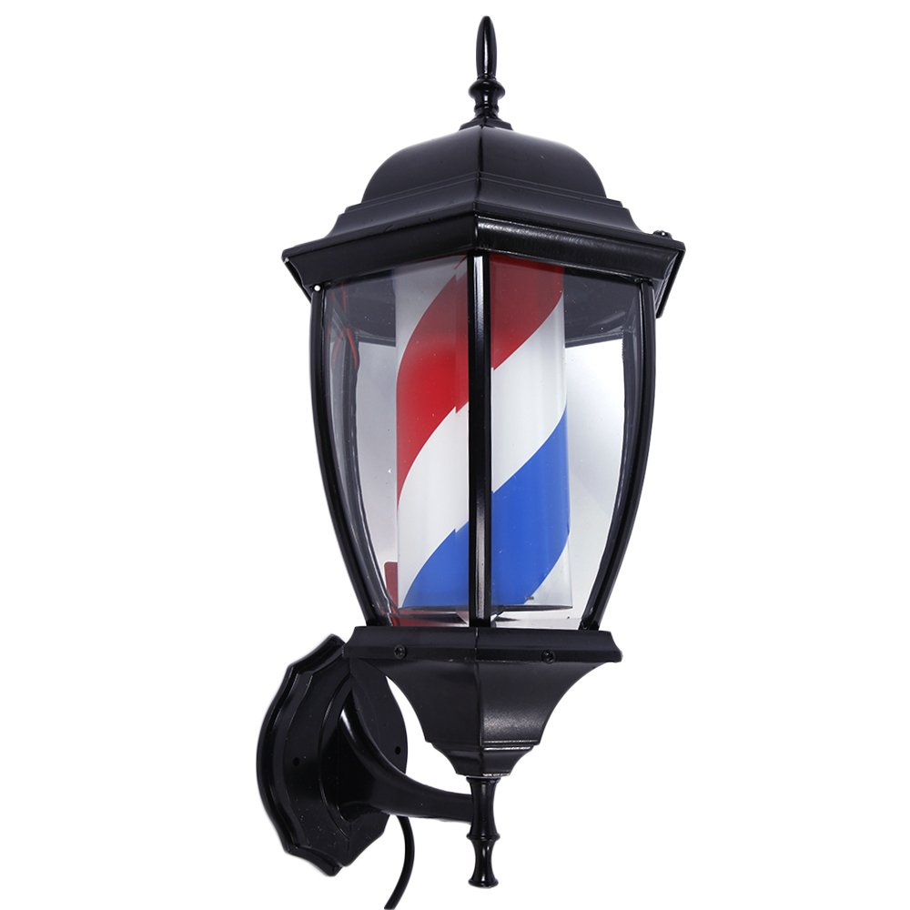 "Mefeir 20"" Barber Pole LED Light Porch Rome Style,Hair Salon Barber Shop Open Sign,Rotating Red White Blue LED Strips Spinning,IP44 Waterproof (20"")"