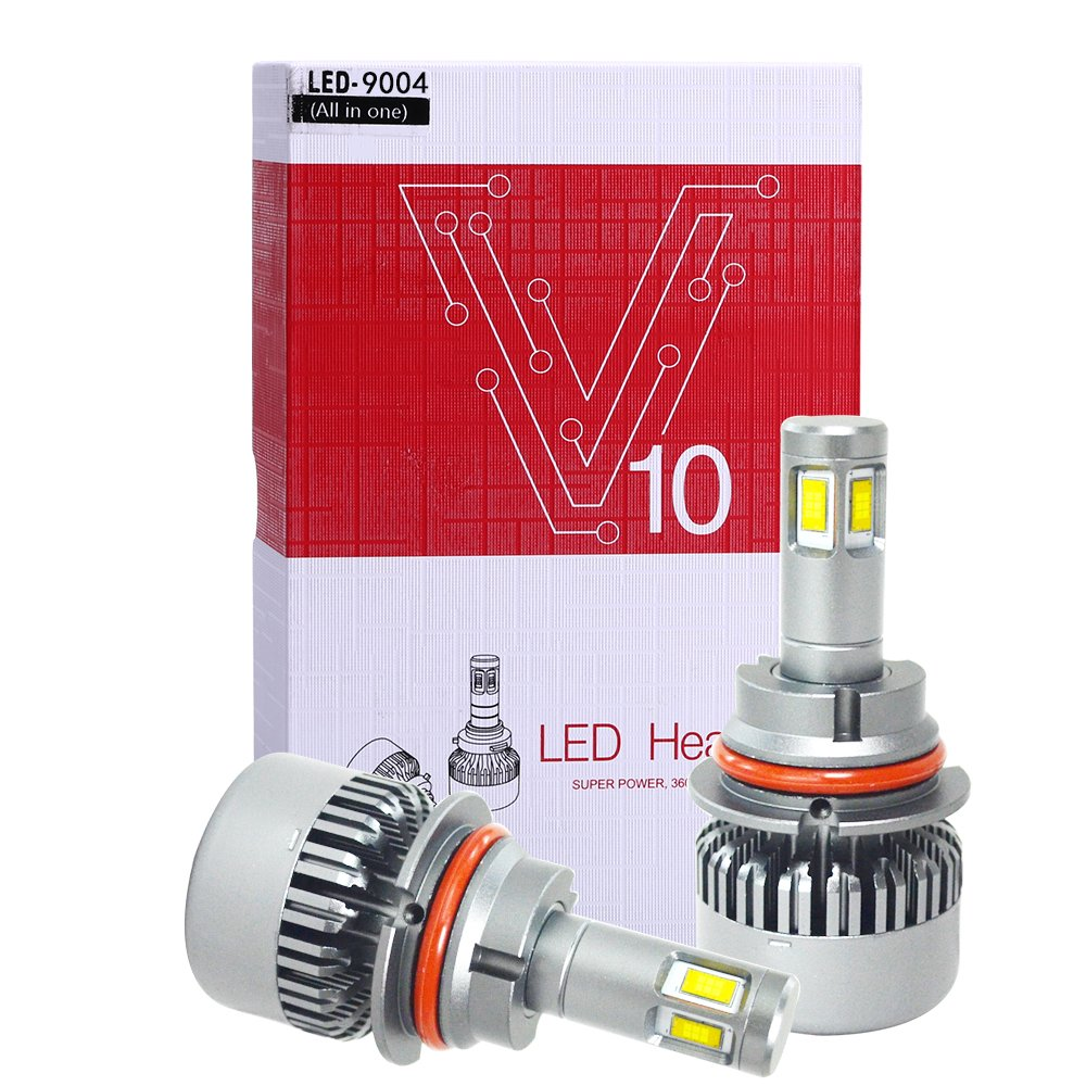 FMS 9004 LED Headlight Bulbs All in One Conversion Kit CSC LED Chip 12000LM 6000K 120W 2Pcs Waterproof Headlight Bulb Replacement, One Year Warranty
