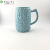 top Garden blue ceramic flower pattern milk coffee mug with handle