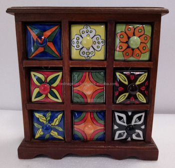 Natural Finish Hand Painted 9 Drawer Wooden Ceramic Spices Box Buy Hand Painted 9 Drawer Wooden Ceramic Spices Boxnatural Finish Wooden Ceramic