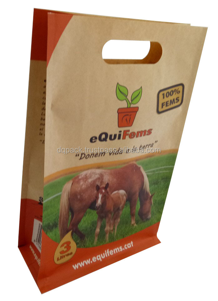 Plant fertilizer plastic bag, fertilizer packaging bag with side gusset, custom made kraft paper fertilizer bag with handle