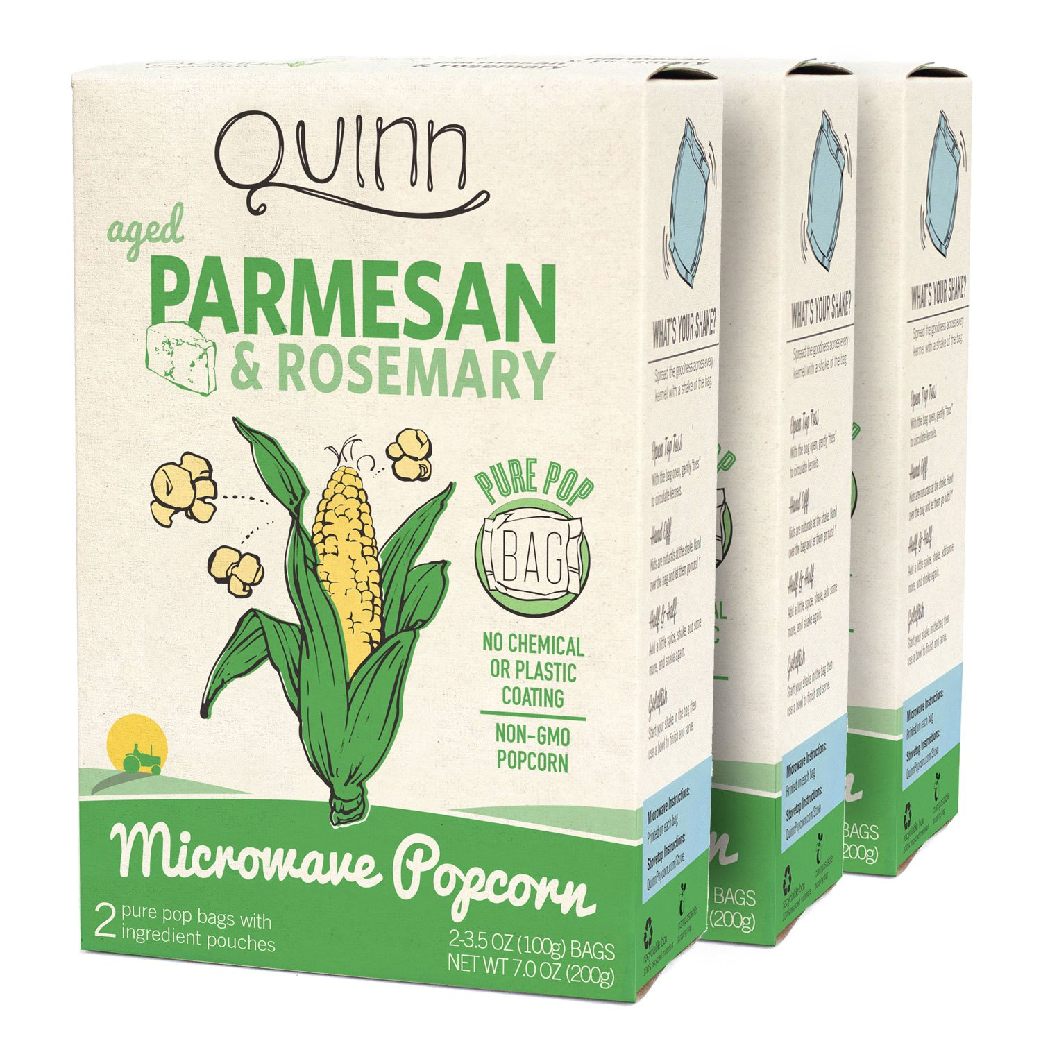 Quinn Snacks Microwave Popcorn, Parmesan & Rosemary, 3 Count