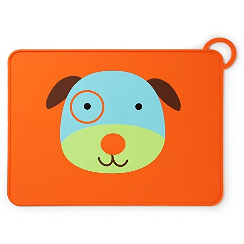 Skip Hop Baby Zoo Little Kid and Toddler Fold and Go Non-Slip, Food-Grade Silicone Placemat, Multi, Darby Dog