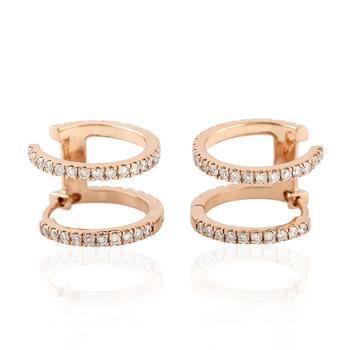 18kt Rose Gold Hoop Earring Women Pave Diamond Handmade Jewelry