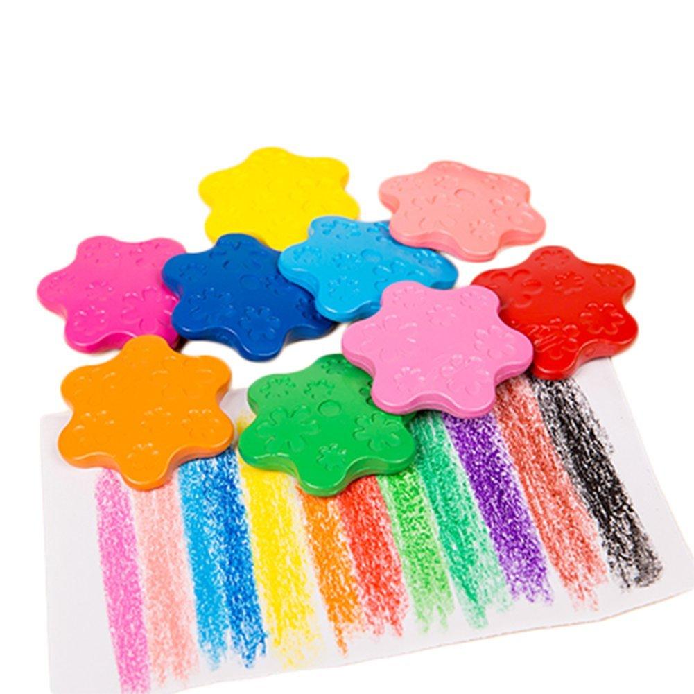 12 Pcs Da.Wa Crayon 12-Color Snowflake Crayon Washable Colorful First Crayon Drawing and Art Supply