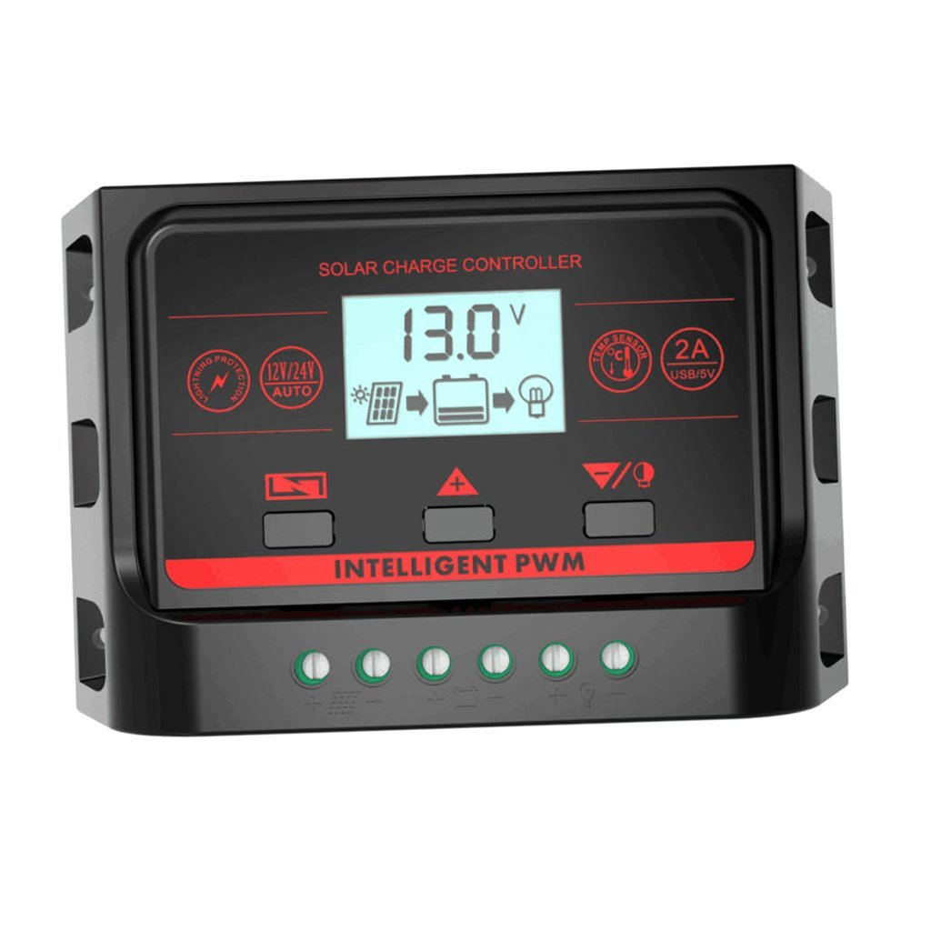 Homyl PWM Battery Charge Controller 10A 20A 30A LCD Display Solar Panel Regulator 12V 24V Auto Safe Protection - 10A