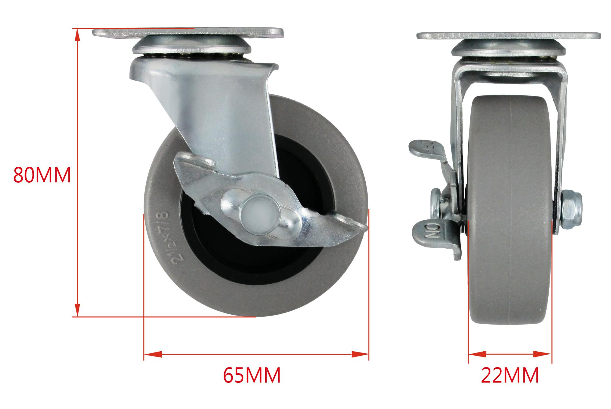 2.5 Inch PU Swivel Removable Caster Wheels