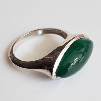 Antique Look Sterling Silver Malachite Cabochon Gemstone Bezel Set Ring