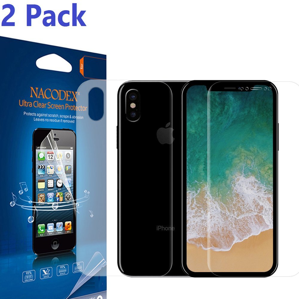 [2 Pack] For iPhone X Screen Protector, [No Glass], [1Pcs Front + 1Pcs Back] Nacodex [100% Full Cover] [No Foam] [Anti Scratch] High Definition Screen Protector For iPhone X