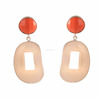 925 Solid Sterling Silver Carved Crystal Rhinestone Peach Chalcedony And Orange Faceted Gemstone Bezel Set Handmade Earring