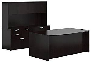 """Offices To Go Executive Desk W/Hutch Bow Front Executive Desk: 71""""W X 36/41""""D X 29 1/2""""H Credenza: 71""""W X 24""""D X 29 1/2""""H Hutch: 71""""W X 15""""D X 36""""H - American Espresso"""