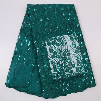 Nigerian Wedding Lace With Sequins Green Embroidery Extensible Lace Fabric XZ2712B