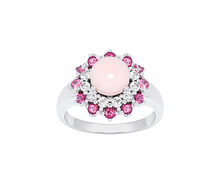 925 Sterling Silver Thailand Pink Opal, White and Pink Topaz Stone Ring Jewelry