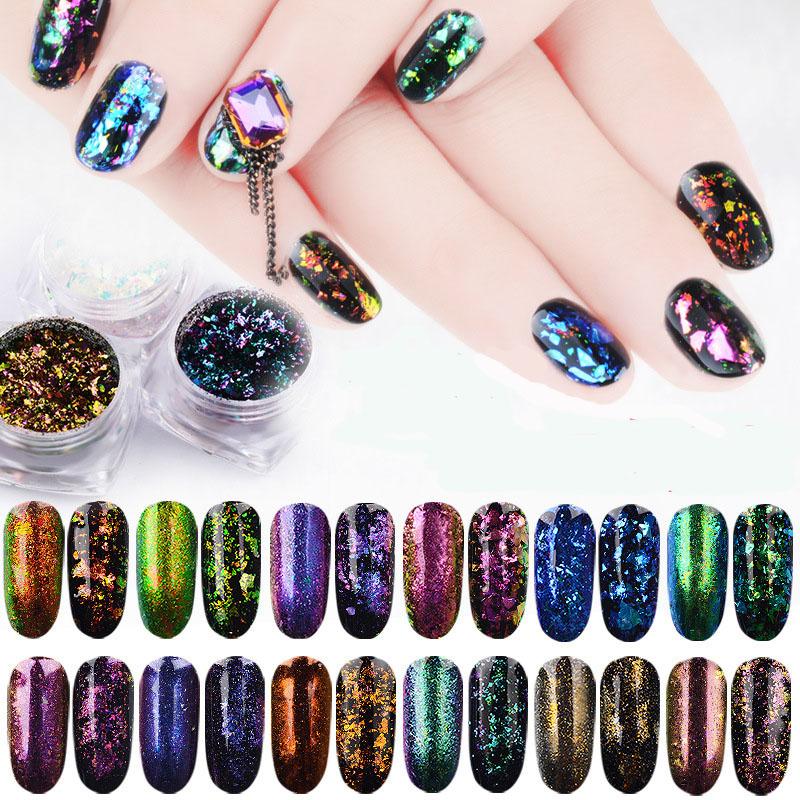 2017 New Top Sale 12 Colors Big Chameleon Metallic Glitter Flakes ...