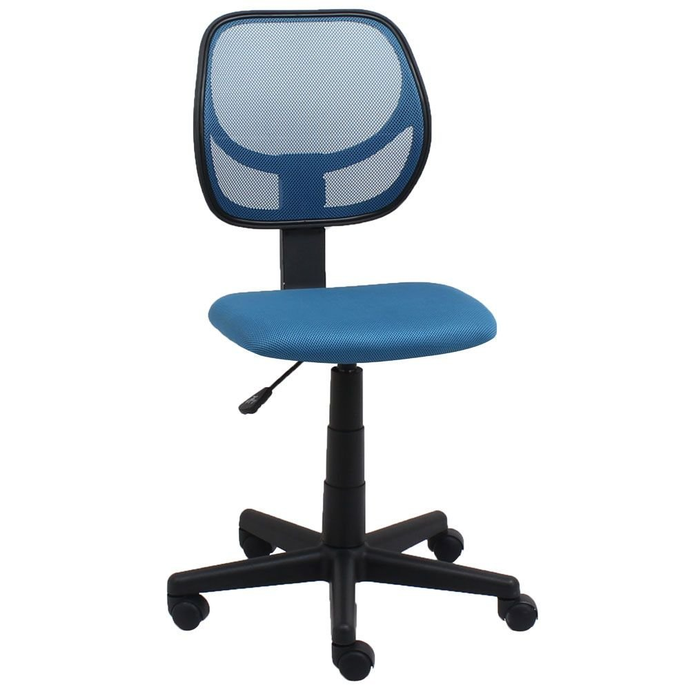 "Essentials Armless Mesh Back Task Chair in Fabric Blue Mesh Back/Blue Fabric Seat/Black Base Dimensions: 18""W x 21""D x 34-38.5""H Seat Dimensions: 17.25""Wx15.5""Dx16-21.25""H"