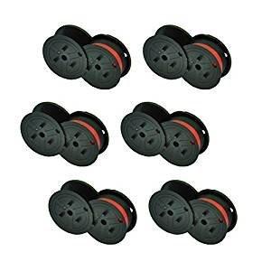 Package of Six, Compatable Nukote BR80C, BRM233, Porelon 11210 (POR11210), Porelon 11216 (POR11216) Twin Spool Black and Red Calculator Ribbons for Sharp El 1630, El 1197, El 1197 PIII