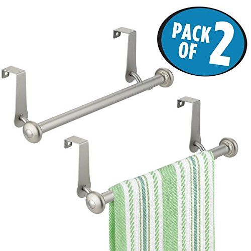 Dish and Tea Towels mDesign Decorative Metal Kitchen Over Cabinet Towel Bar Storage and Display Rack for Hand Hang on Inside or Outside of Doors Matte White