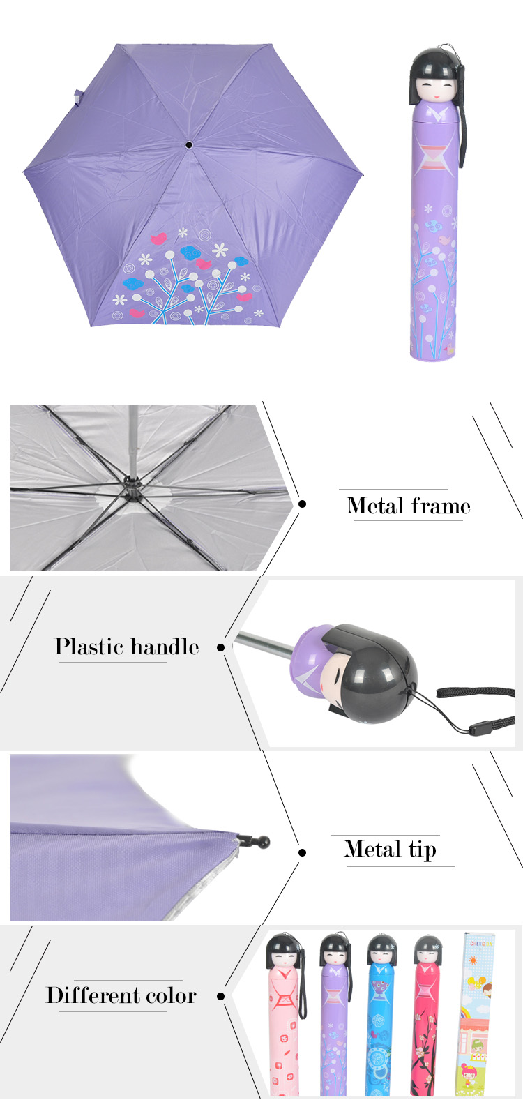 BD-01 Good quality Japanese style 3 folding doll bottle umbrella