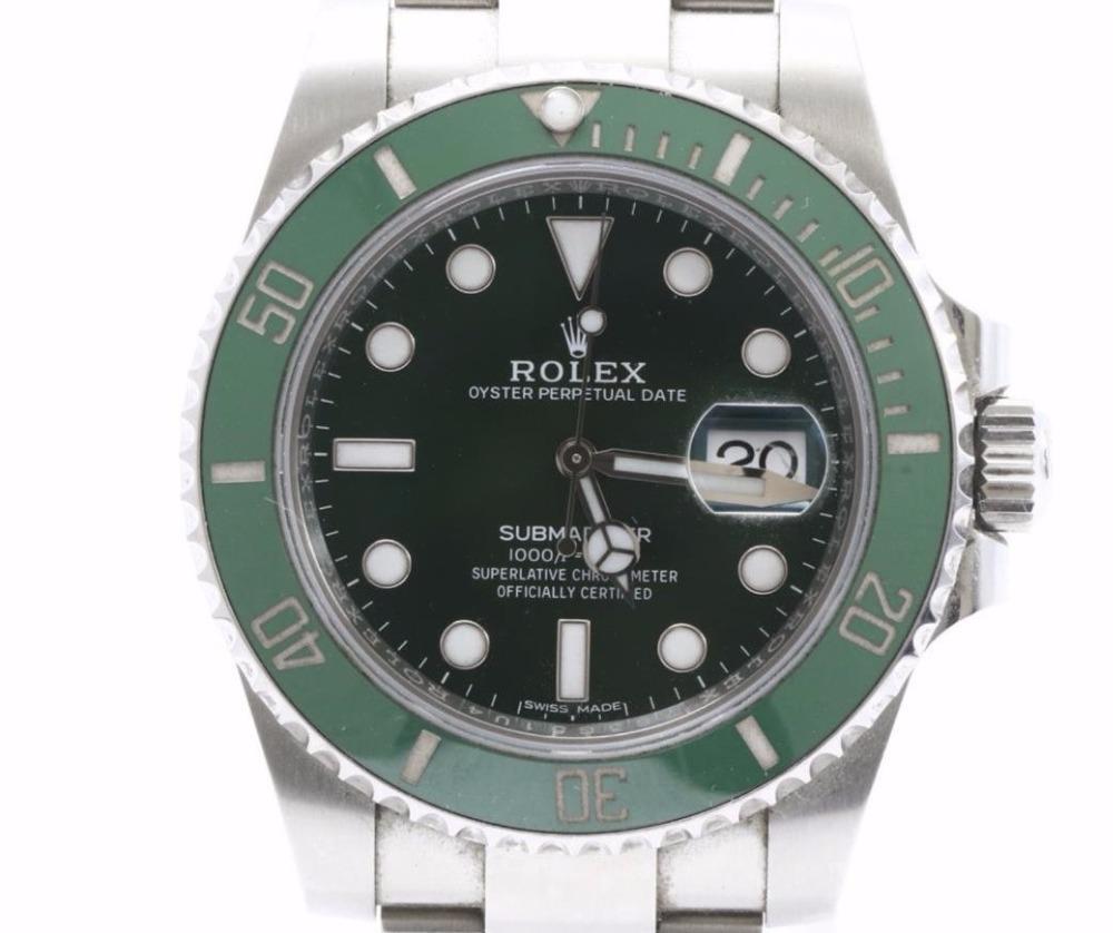 169ad8aca تستخدم عالية الجودة العلامة التجارية تستخدم رولكس الغواصات الأخضر 116610 LV  الساعات للبيع بالجملة. العديد