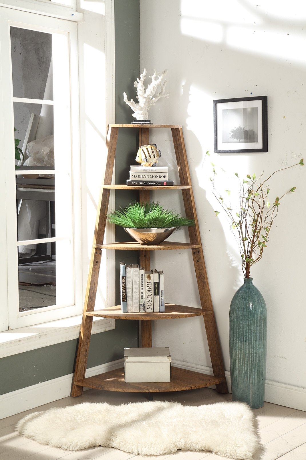 Vintage Brown Finish Wood Wall Corner 5-Tier Bookshelf Bookcase Accent Etagere