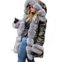 Amazon hot selling winter coat women overcoat large fur collar faux fur Inner Lining Hooded Artificial Fur parka