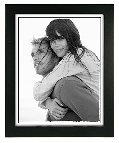 Malden International Designs Linear Classic Wood Picture Frame, Holds 8x10 Picture, Black