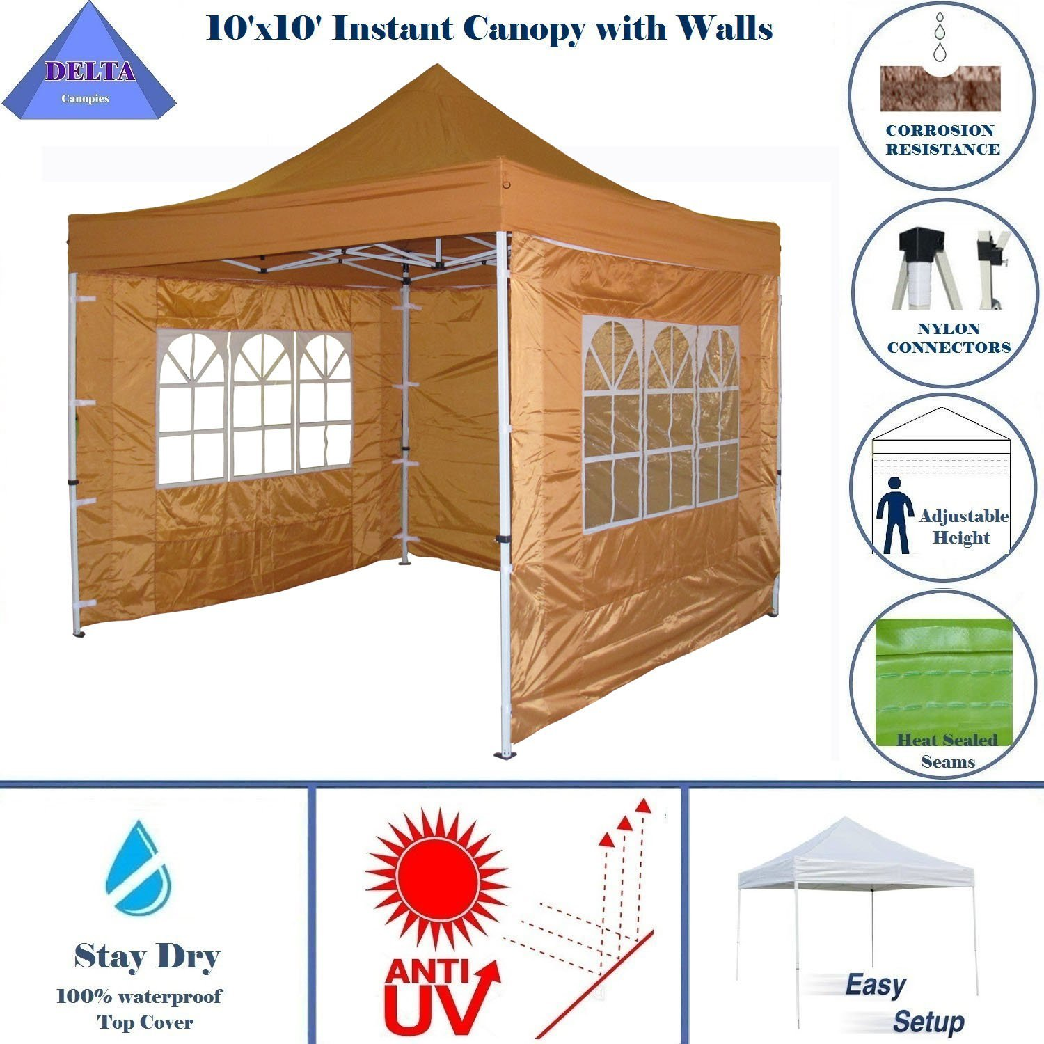 10'x10' Pop up Canopy Party Tent Gazebo EZ Burnt Orange - E Model by DELTA Canopies