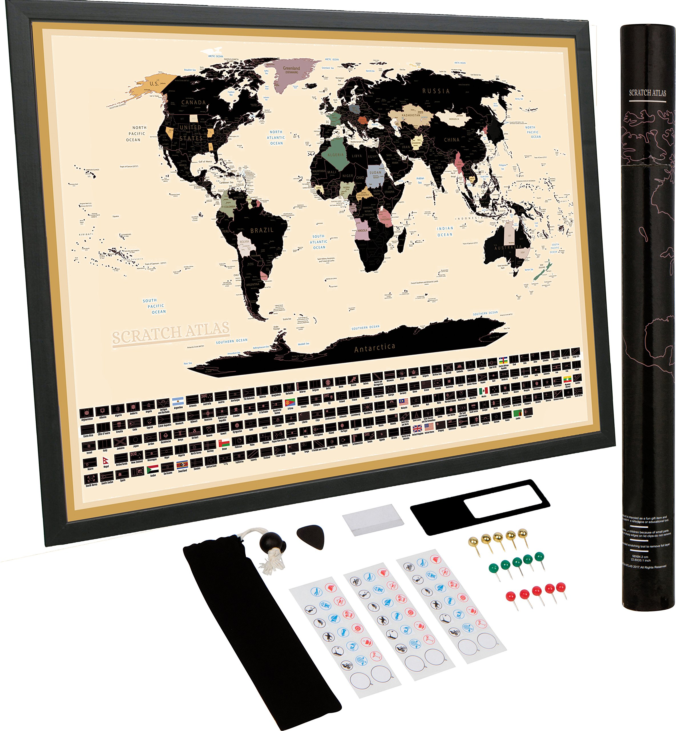 Scratch off World Map | Bonus Accessories | Travelers Journal | Scratchable Wall Decal Decor Poster | Bucket List | Vintage NoMad Notebook | Perfect for Cork Board | Activity Puzzle for Kids.