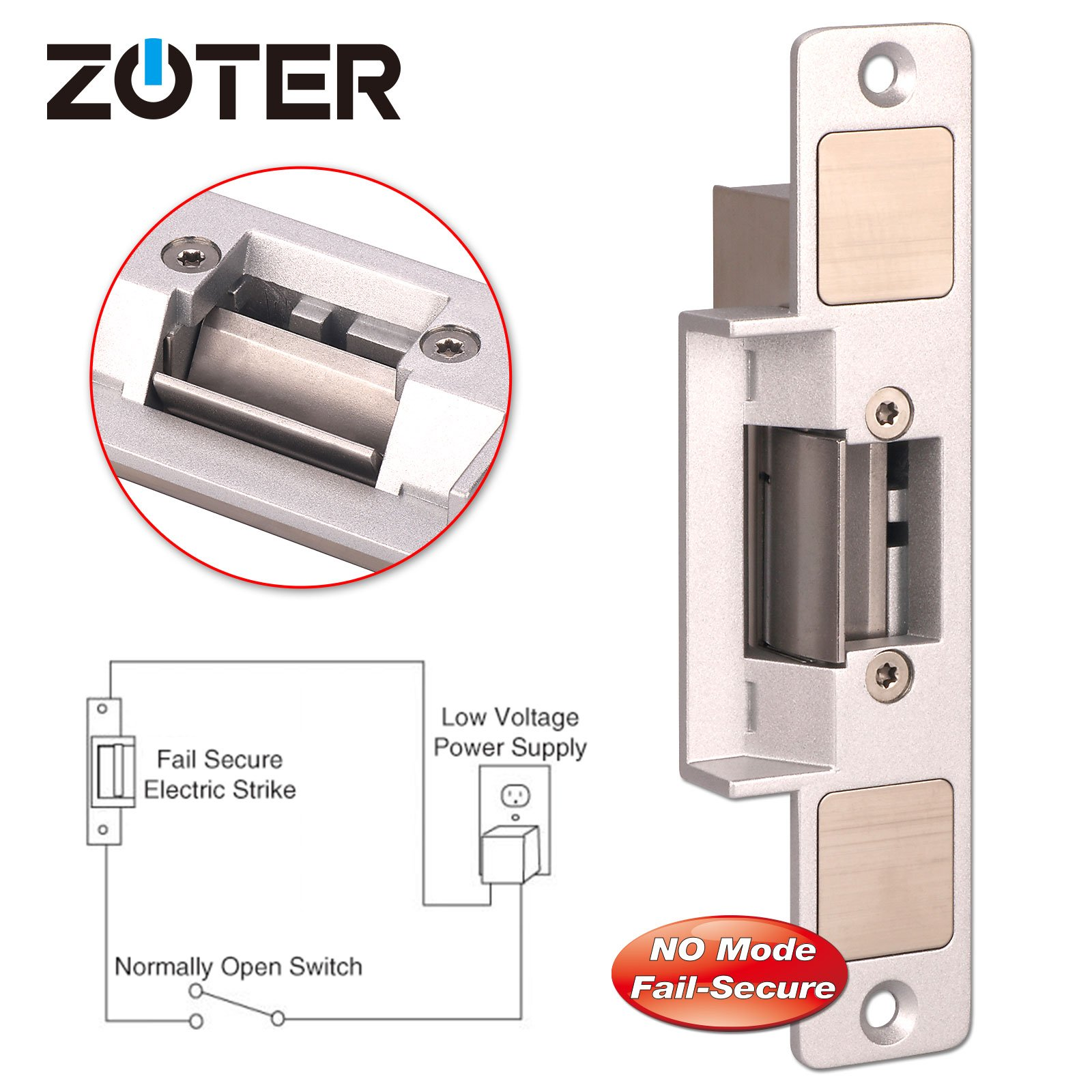 Electric Strike, ZOTER Door Lock DC 12V NO Mode Fail Secure for Wooden Metal PVC Door