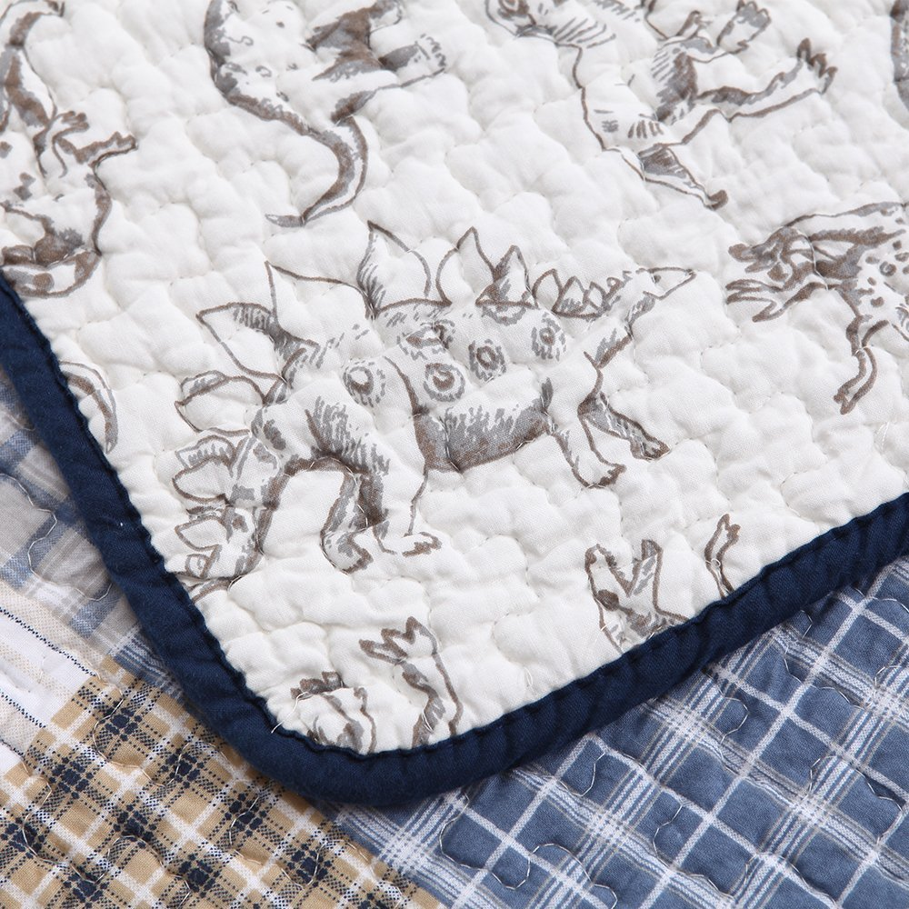 Cozy Line Home Fashions, Inc. Cozy Line Benjamin Plaid Dinosaur Print 3-piece Quilt and Sham Set 3 Piece Queen, Full - Queen, Full