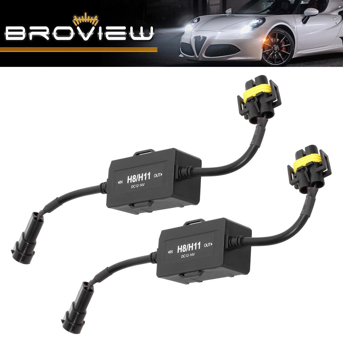 BROVIEW Canbus Series -For H8 H9 H11 LED Headlights Conversion Kit Anti Flickering -Wire Haress Load Resistor Decorder Canbus Error Free Computer Warning Canceller -(2pcs/1 Pair)