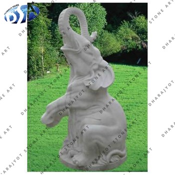 Indian Grey Marble Semi Polished Sitting Elephant Statue With Garden Decor Large Statues Oriental