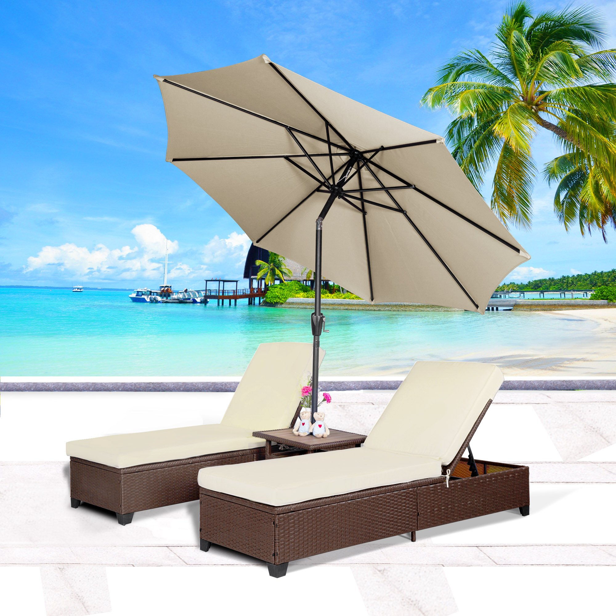 Buy Cloud Mountain 3pc Outdoor Rattan Chaise Lounge Chair