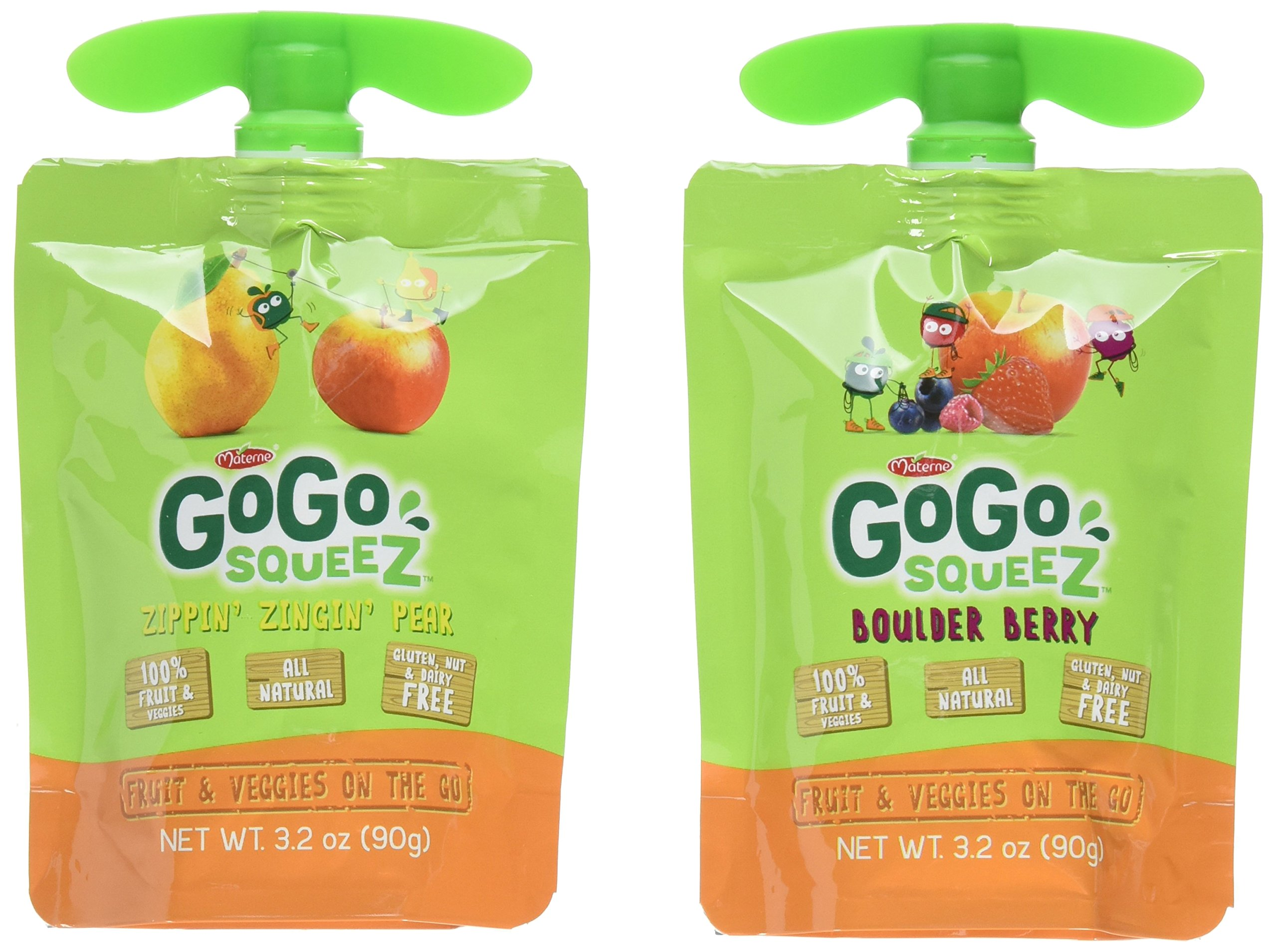 GoGo SqueeZ Fruit & VeggieZ on the Go, Variety Pack (Apple Pear/Apple Berry), 3.2 Ounce Portable BPA-Free Pouches, Gluten-Free, 12 Total Pouches