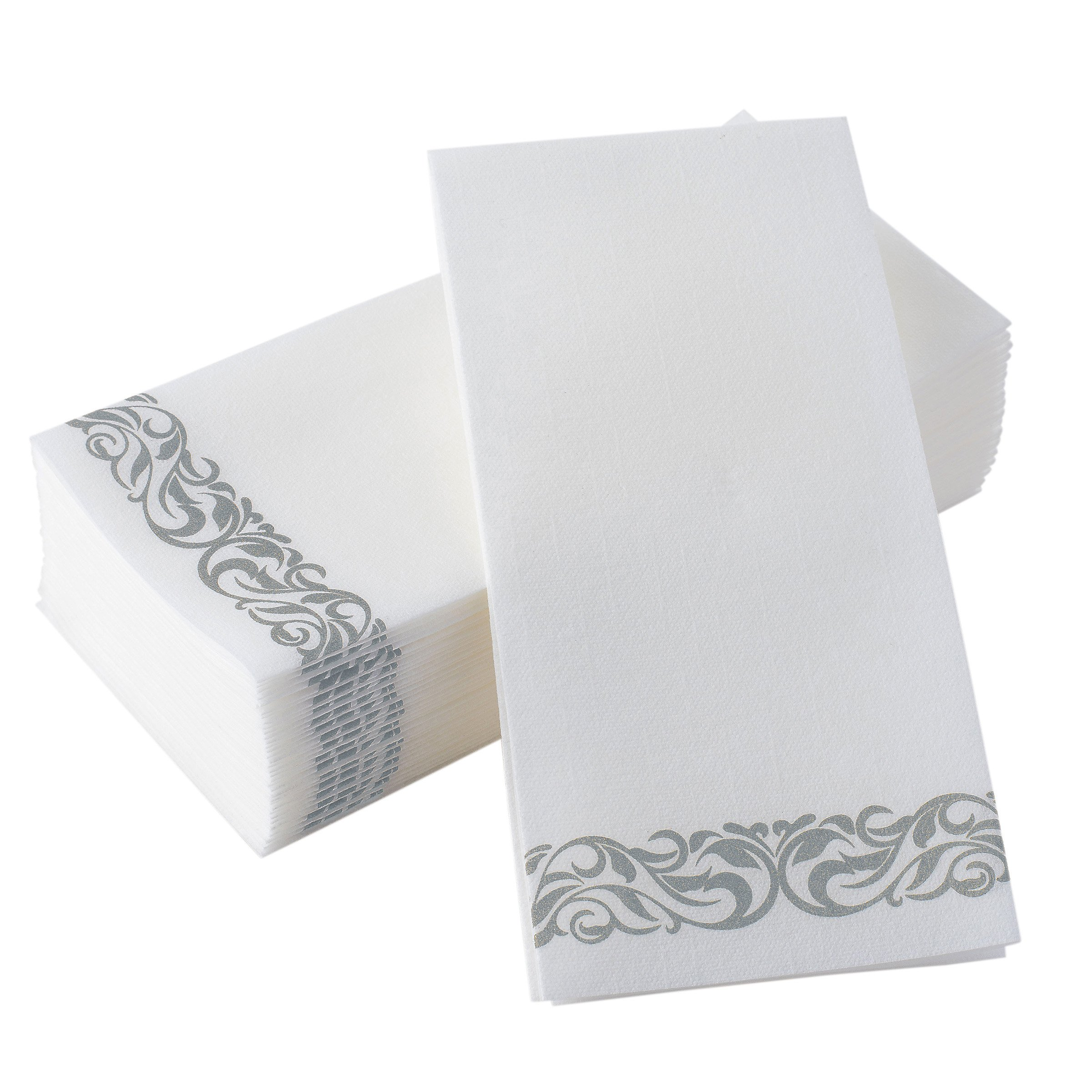 BloominGoods Disposable Linen-Feel Guest Towels - Decorative White Hand Towels, Silver Floral Cloth-Like Paper Napkins - Case 1000 (Bulk Packaging)