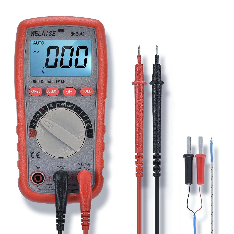 Digital Multimeter WELAISE Auto-Ranging Non Contact Voltage Detection Electronic, AC/DC/Ohm/Volt Test Meter Multi Tester W/Temperature/BatteryTest
