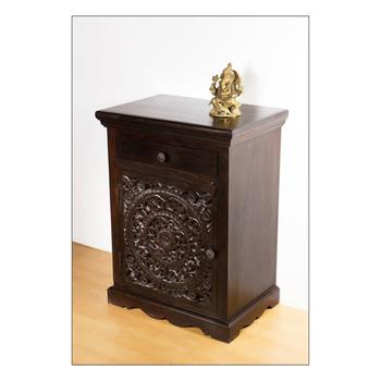 Indian Solid Wood  Hand Carved Nightstand
