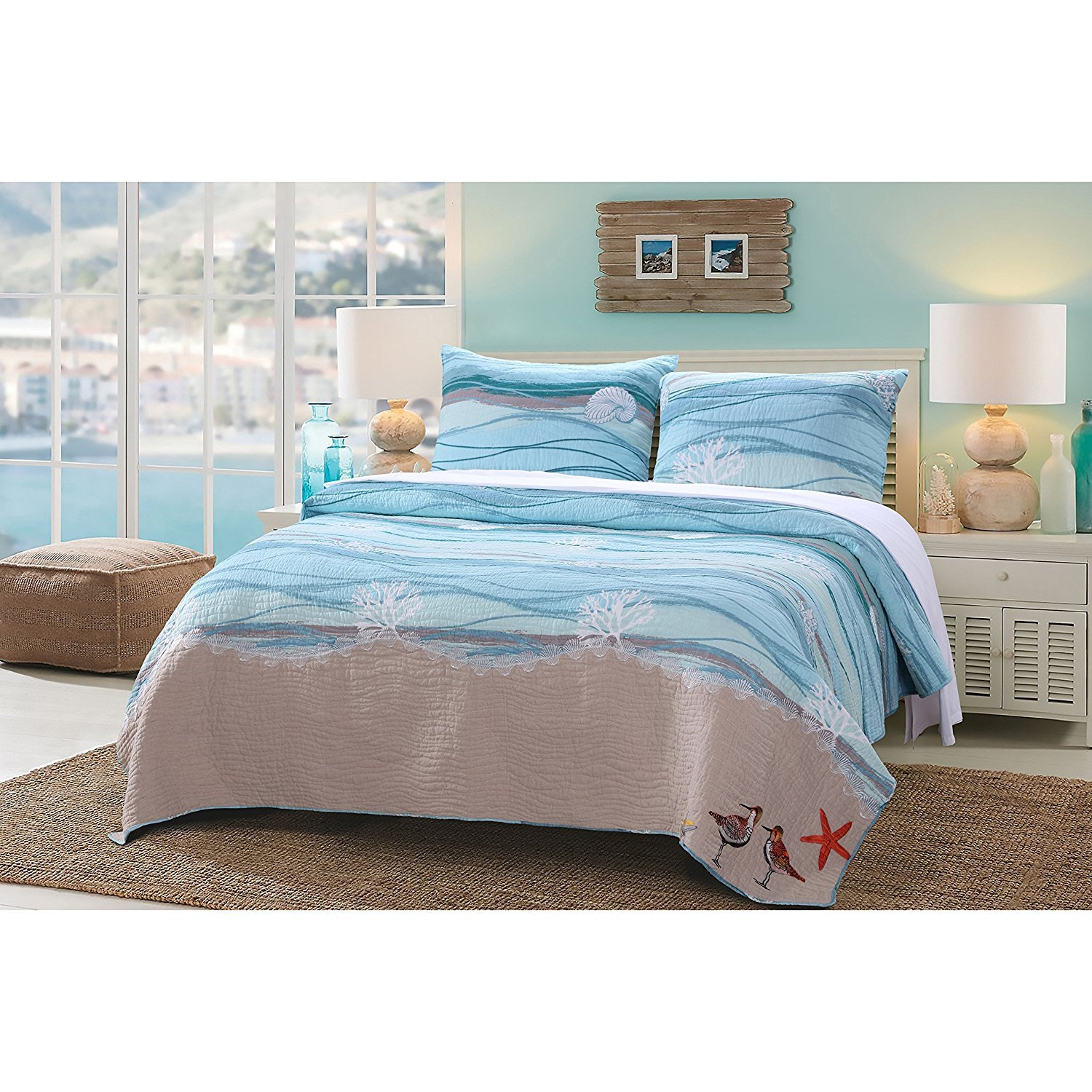 3pc Blue Nautical Full Queen Quilt Set, Cotton Linen Polyester, Turquoise Waves Star Fish Ocean Sea Weed Coral Birds Solid Color, White Sand Nature Coastal Beach Theme Bedding
